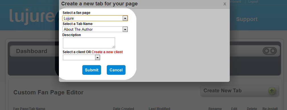 Create New Tab, Facebook, Fan Page, Static FBML, IFrames, Lujure